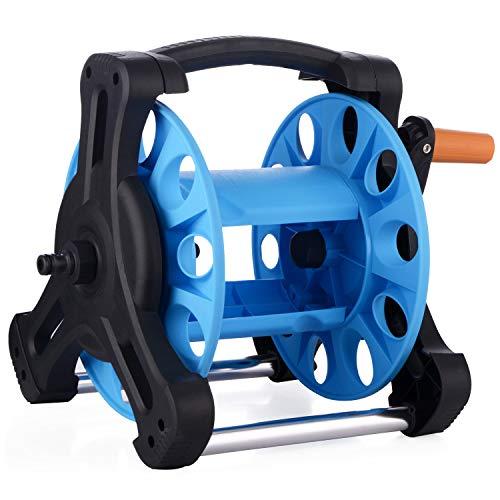 Lulalula Bobine de tuyau d'arrosage, enrouleur de tuyau d'eau portable chariot avec support de fixation au sol/mural de voiture Enrouleur de tuyau