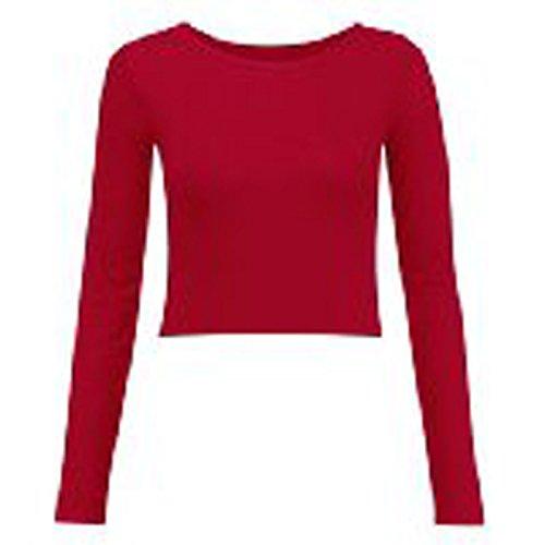 Maglietta stile crop top da donna, a maniche lunghe e a tinta unita Red