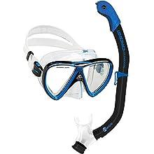 Cressi Unisex's Ikarus & Orion Snorkel Combo Set, Transparent/Black/Blue, Uni