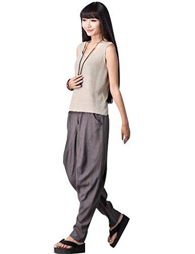 Youlee Femmes Élastique Taille Gros Fourche Harem Pantalons Gris