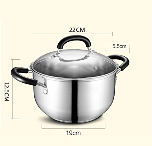 DD Soup pot stew pot stainless steel 304 home use uncoated thicken large capacity pot mother's day father's day gift (Size : 22cm)