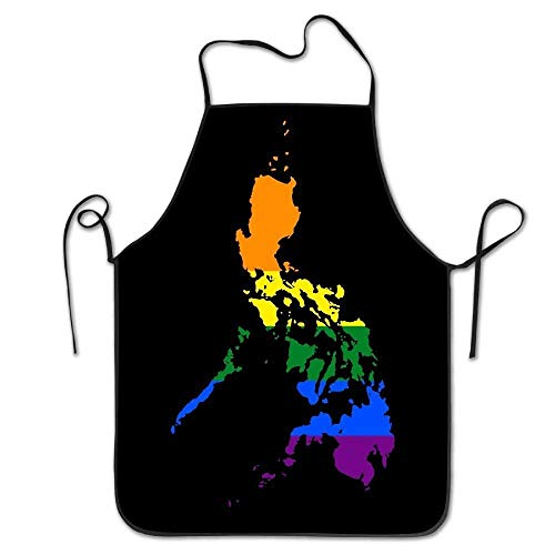 LCleanbee LGBT Flag Map of The Philippines Women Men Kitchen Bib Apron Bakery Coffee Shop with Adjustable Neck Chef's Apron