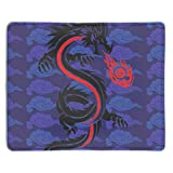 meniony Eco Friendly Cloth with Neoprene Rubber Liil Fire Dragon Mouse Pad Desktop Mousepad Laptop