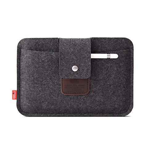 Pack und Smooch iPad Mini Case Sleeve Hülle LLEYN Aus 100prozent Merino Wollfilz Handmade in Germany - Anthrazit/Dunkelbraun