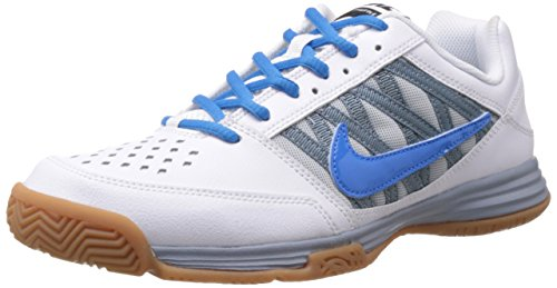 Nike Men's Court Shuttle V White and Photo Blue and Light Magnet Grey  Tennis Shoes - 6 UK