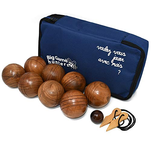 0b0979fbefc00 Big Game Hunters Wooden Boules Set of 8 Solid Engraved Balls with Padded  Canvas Carry Case