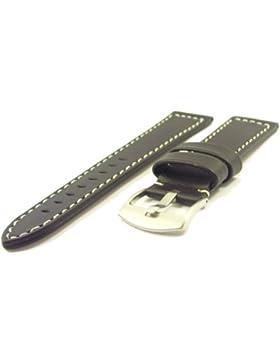 Massives ZeitPunkt-Chrono Lederband schwarz 20mm