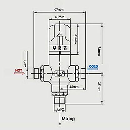 KES ML100 latón 3 vías válvula mezcladora termostática 1,27 cm IPS conexiones macho, 68-119 šH ajuste Stepless