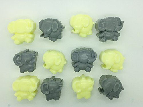 40 x Mini Elephant Soaps - Scented - Baby Shower Game Prize Christening Favours (Yellow & Grey)