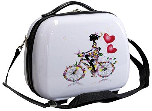 set di fino a 3 valigie bagaglio trolley vanity case policarbonato rigido leggero 4 ruote 360° con motivo PM (Romantico, S (Vanity Case))