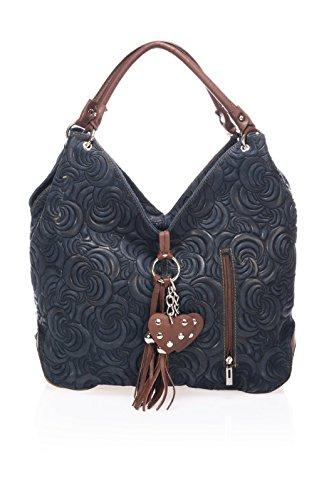 """Show Some Love """"Elena"""" Italienische Handtasche Damen Henkel-Tasche Schultertasche Shopper echt Leder. Made in Italy. (blau)"""