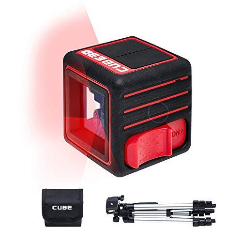 ADA Cube 3D Professional Kit - Selbstausrichtende Laserwasserwage mit Kreuzstrahlen, 20m Arbeitsbereich (70m Modus mit Laser-Receiver). 2 vertikale und 1 horizontaler Strahl -