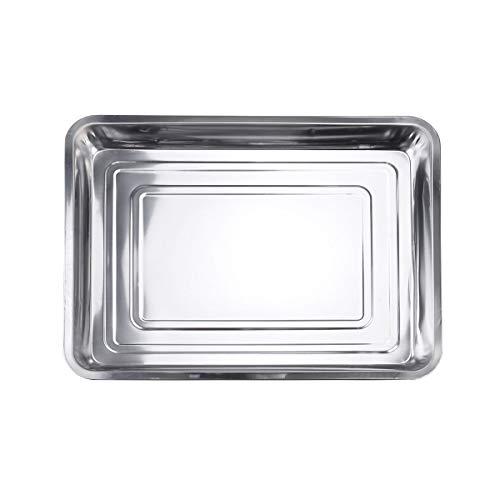 BBQ Grillplatte Grillschale Edelstahl 45x35x4.8cm (Color : -, Size : -) -