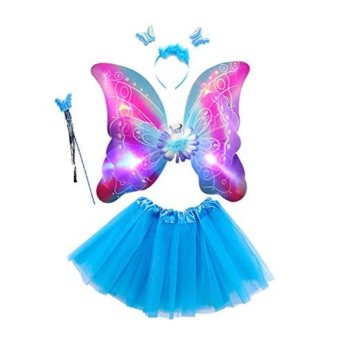 EZSTAX 4pcs LED Leuchtend Schmetterling Kostüm Halloween Cosplay Prinzessin Elfe Flügel mit Zauberstab für Party Karneval Fasching Fastnacht Halloween,Blau 2#