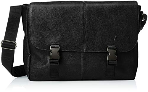 Armani Exchange Herren Messenger Bags Business Tasche, Schwarz (Nero), 27.0x11.0x34.0 cm