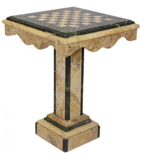 Casa Padrino Luxus Barock Spieltisch Schach/Dame Tisch Marmor Creme - Grün - Möbel Antik Stil Art Deco Jugendstil Schachtisch -
