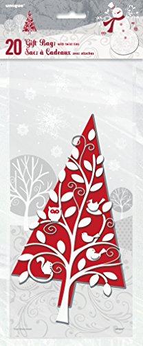 s Zellophan Frosted Urlaub Weihnachten Partytüten, 20Stück ()