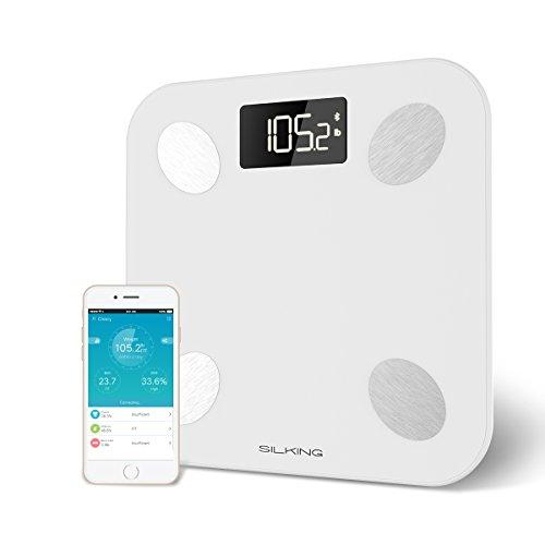 Silking Bilancia Pesapersone Digitale per Grasso Corporeo e Bluetooth, Wireless APP per IOS e Android, Display LCD, per peso corporeo, acqua, massa muscolare, BMI,...