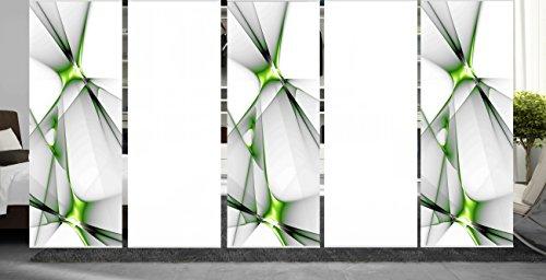 wohnfuehlidee 5er Set Raumteiler Deko blickdicht GRETA apfelgrün, Höhe 245 cm, 3x Dessin/2x weiß -