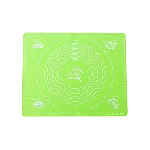 BESTOMZ Back Unterlage Silikon Backmatte mit Messungen für Fondant Teig Backen (Grün)