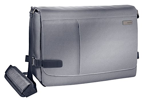 Leitz, Leichte Business Messenger-Tasche für 15.6 Zoll Laptop, Smart Traveller, Polyester/Metall/Leder, Complete, Silber, 60190084 - Silber Damen Messenger Bag