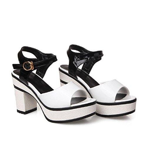 Femmes Mode Talons hauts Été parc Bouche de poisson Confortable Des sandales black and white