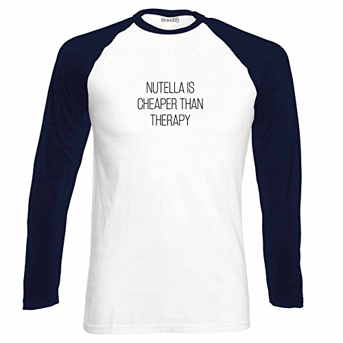 Brand88 - Nutella Is Cheaper Than Therapy, Langarm Baseball T-Shirt Weiss & Dunkelblau