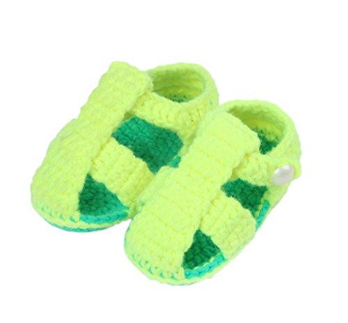 Bigood Sandales Bébé Garçon Fille au Crochet Chaussure Souple 3-5 Mois Jaune
