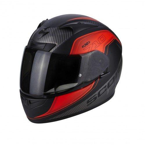Scorpion Casco moto EXO-710 AIR Mugello Opaco Nero-Neon Rosso-Argento XS