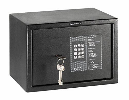 Arregui 31010 Caja fuerte de sobreponer electrónica con llave. 350x250x250 mm, Negro texturado, 350...