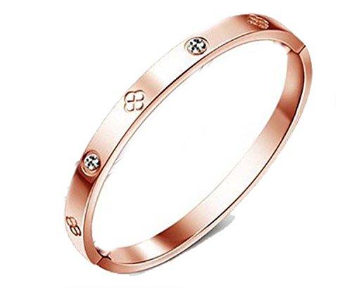 findout Damen 14K Roségold vergoldet Titan Stahl Ewigkeit Ring Armband, Frauen Mädchen, (f1393) (rose gold plated)
