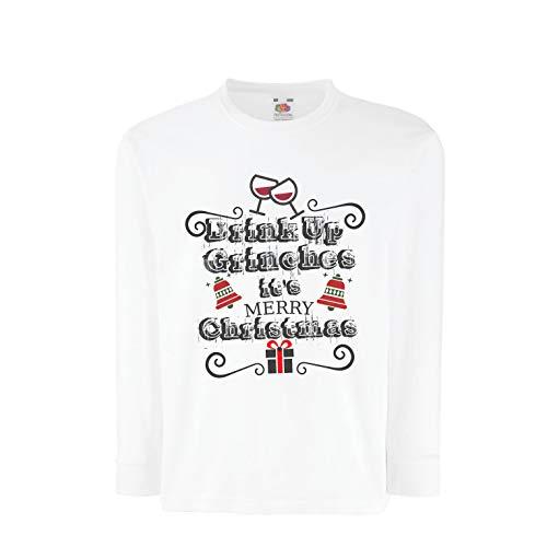 lepni.me Kinder-T-Shirt mit Langen Ärmeln Trinken Sie Grinches - Frohe Weihnachten (7-8 Years Weiß Mehrfarben)