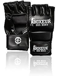 Boxeur Des Rues - Guantes de MMA (artes marciales mixtas) Fight Activewear de piel sintética, Hombre, Fight Activewear, negro, Large