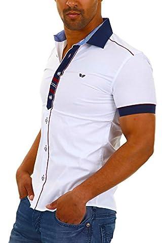 Carisma Herren Kurzarmhemd Freizeithemd Kontrast-Hemd Slim Fit (L,