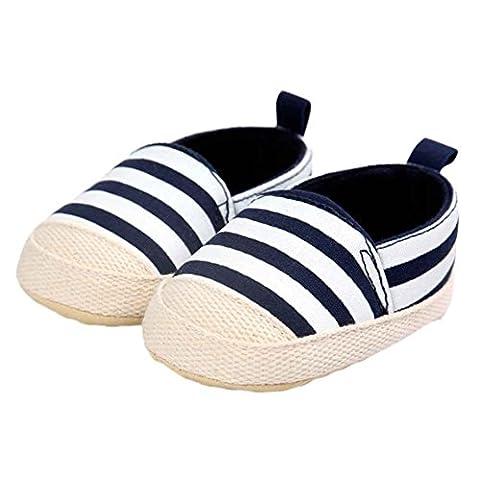 Yogogo - Chaussures - Fille Stripe Canvas Shoe - Baby Garçons Sneaker - Anti-dérapant souple Sole Toddler (12, Bleu)