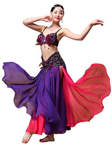 Grouptap Violett Lila rot tribal Gypsy motony Lange Bauchtanz Maxi Schlitz sexy Kleid Rock Frauen mädchen Folk bauchtänzerin kostüm (nur Rock) (Violett & Rot, EU 34-44 / - Womans Bauchtänzerin Kostüm