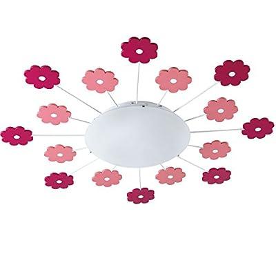 EGLO 92147 Kinderzimmer-Deckenleuchte Mädchen und Jungen Viki 1 mit rosafarbigen Blumen, Durchmesser 61,5 cm, Stahl