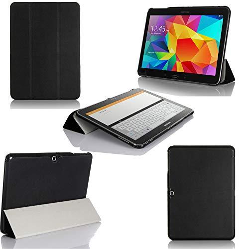 XEPTIO Nera Custodia Pelle Ultra Slim per Samsung Galaxy Tab 4 10.1 pollici SM-T530/T535 - Case Funda Cover protettiva Galaxy Tab 4 10 1 Tablet Wifi/4G/LTE (PU Pelle - Nero/Black) accessori