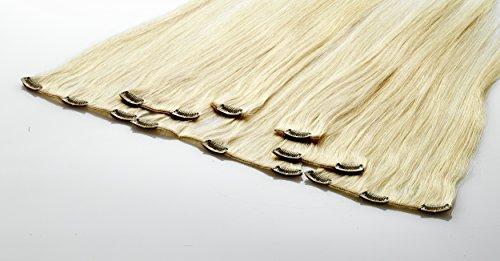 Echthaar Clip In Extensions, Haarlänge 40cm, Set mit 7 Tressen, 15 Clips , Haarverlängerung, netto Haargewicht ohne Clips und Verpackung: 90g (660 - platin (sehr helles blond))