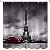 A.Monamour Paris Torre Eiffel Viejo Coche Calle Escena Oscuro Nubes Cielo Imprimir Baño Decoración
