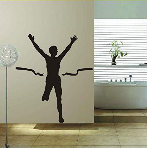 Marathon Rennen Siegreiche Athlet Kunst Wandaufkleber Home Decor Vinyl Aufkleber Benutzerdefinierte Kinder Persönlichkeit Stil Zimmer 43X47cm (Marathon Bilderrahmen)