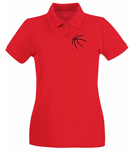 T-Shirtshock - Polo pour femme SP0023 Basketball Ball Maglietta Rouge