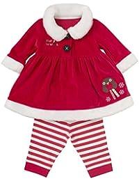 Happy Cherry Ensemble 2Pcs Pyjama/Combinaison Bébé Fille Style Noël - Veste en Velours Manche Longue + Pantalon en Coton Rayé pour Déguisement Costume Cosplay pour Stature(80-110cm)- 1-7ans