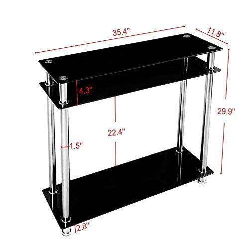 Chinkyboo 3 Tier Modern Black Glass Narrow Console Table
