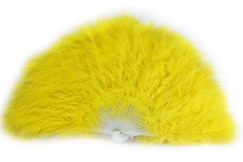 Rangebow Feather Fan Offene Größe ca. 48cm x 28cm mit 28 weißen Plastik Rippen (Gelb, 10 Stück)