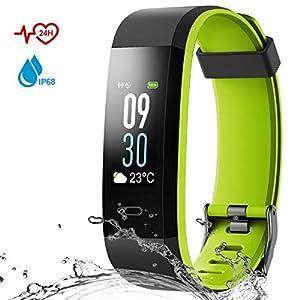 Danloryu Fitness Armband Wasserdicht IP68 Fitness Tracker mit Pulsmesser Farbbildschirm Aktivitätstracker Schrittzaehler Uhr Smart Armbanduhr Fitness Uhr für Damen Herren (Grün)