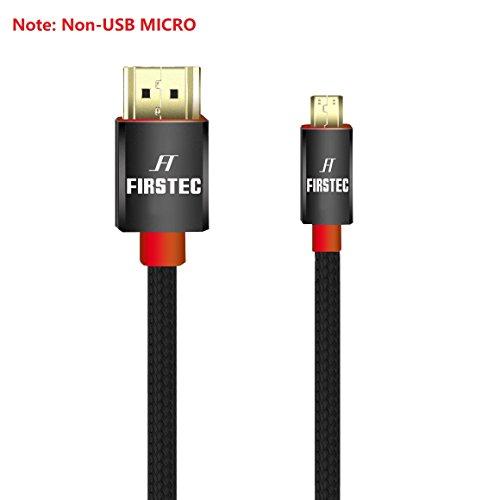 FIRSTEC Cable Micro HDMI a HDMI 3D 4K Alta Velocidad con Ethernet y Retorno de Audio, Compatible con GoPro HERO,Lenovo,Microsoft Surface RT y Más Cámaras,Tabletas,Portátiles con Micro HDMI Tipo D (2M)