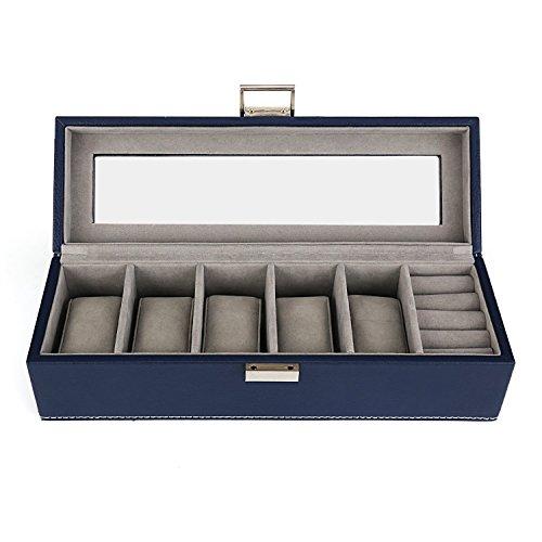 Amzdeal-Caja-para-Relojes-y-Aniillos-Caja-de-joyera-Caja-de-exposicin-para-5-relojes-Almacenamiento-de-joyas-Caja-vitrina