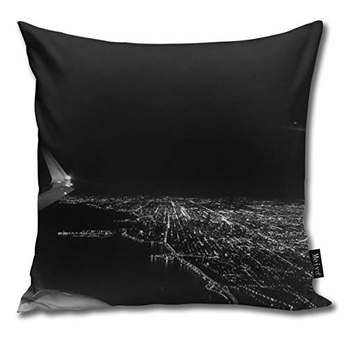 popluck Decorative Pillow Cover Chicago Skyline. Airplane. View from Plane. Chicago Nighttime. City Skyline. Square Home Decor Pillowcase 18x18 Inches