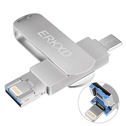 ERKXD USB Stick 64G 128GB Speichererweiterung USB 3.0 Externer Speicherstick Flash für Apple iPhone iPod iPad Computer Mac Laptop PC USB Type C (64GB)